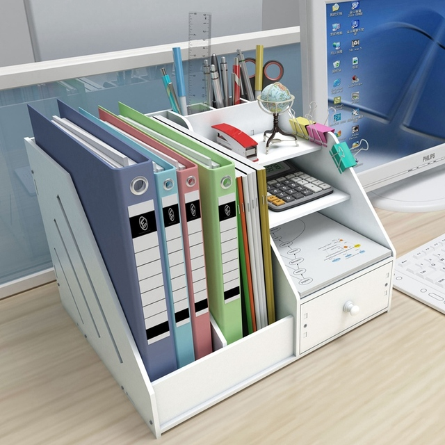 Multi Use Desktop Stationery Organizer Box With Document File Book Stand and Pen Holder Drawer Rack for Memo Note Pad 2