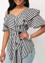Women Striped Casual Shirts Strapless Shoulder Lady Loose Shirt Tops Tunic Chemise Femme
