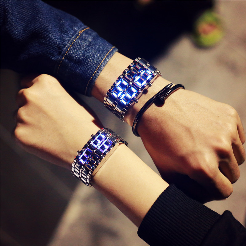 Korean Style Men Women Digital Wristwatches Creative LED Light Electronic Male Female Clock Fashion Casual Couple Bracelet Watch(China)