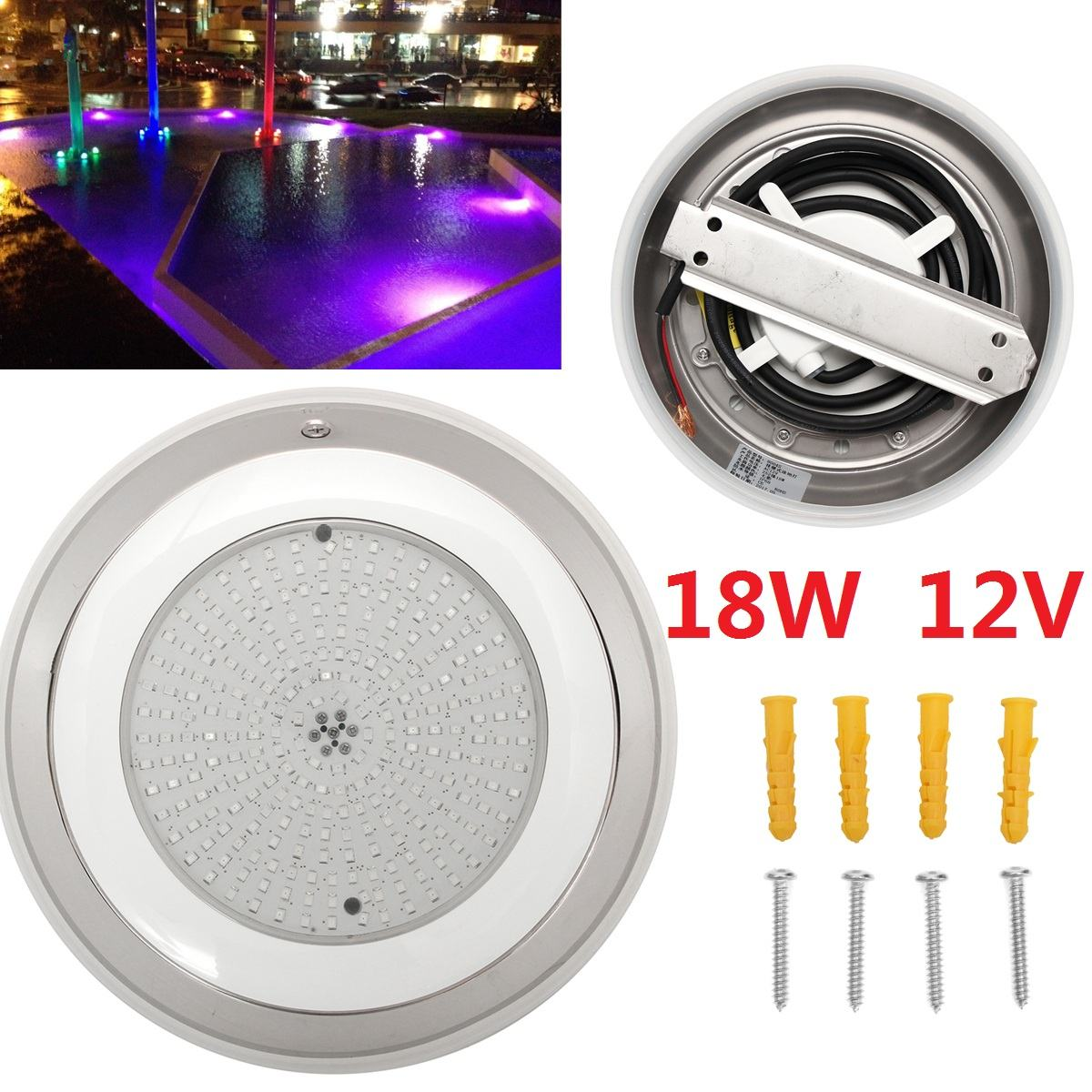 12V 252 LED 18W Led Swimming Pool Light with cable Stainess Multi-Color aterproof Underwater Lamp Outdoor Lighting12V 252 LED 18W Led Swimming Pool Light with cable Stainess Multi-Color aterproof Underwater Lamp Outdoor Lighting