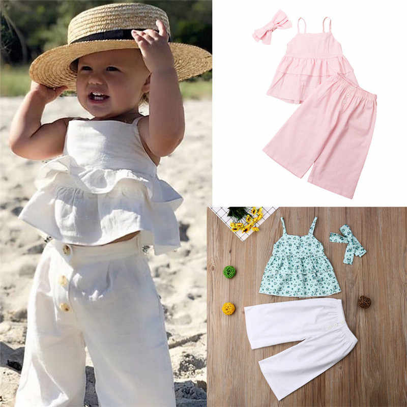 db6c3a73c2521 Summer Fashion Kids Baby Girls Outfits Sleeveless Sleeveless Ruffles ...
