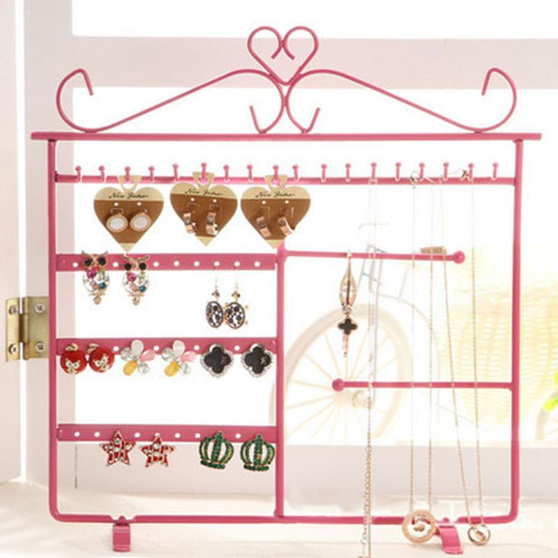 Jewelry Display Necklace Earrings Holder Jewelry Display Storage Hanging Holder Rack Metal Stand Organizer Holder Organizador De