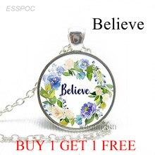 Верьте в Библию, версии, вдохновляющие цитаты, модное ожерелье, стеклянный купол, цветок, ювелирные изделия, христианский кулон, подарки для ...