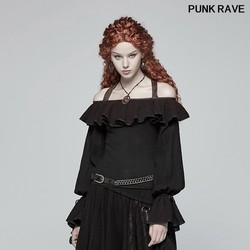 Steampunk Off-shoulder Halterneck Shirts Fashion Sexy Slash Neck Blouse Vintage Long-sleeved Women Top Party PUNK RAVE WT-546