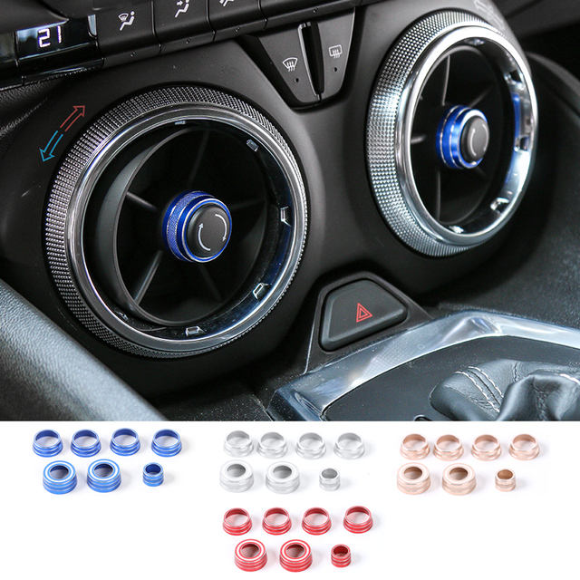 SHINEKA Car Interior Dashboard Headlights Control Air Vent Adjust Button Switch Cover Ring Trim Kits for Chevrolet Camaro 2017+