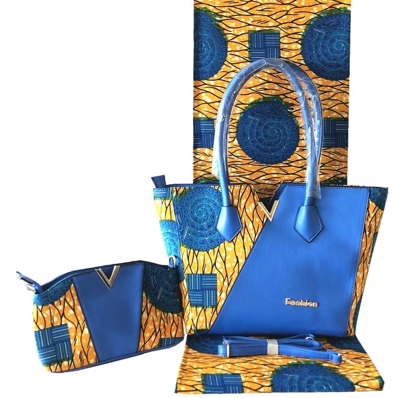 New Arrival African Dutch Wax Bag And Wax Fabirc Set High Quality Woman's Handbag With 6 Yards African Wax Prints Fabric