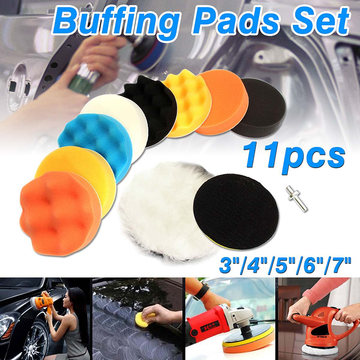 11pcs 100mm/4 Gross Buffer Compound Waxing Polishing Wheel Tool Sponge Pad Drill Adapter Kit Set For Auto Car Polisher