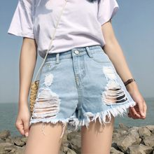 Brand Summer Style Women Ripped Hole Denim Sexy Hot Pants Female High Waist Mini Short Jeans Lady Bottoms(China)