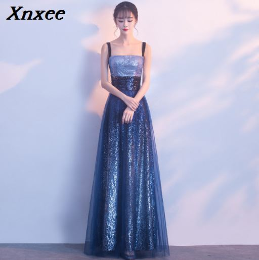 Diamonds Beading Voile 2019 New Women 39 s Elegant Long Gown Party Proms For Gratuating Date Ceremony Gala Evenings Dresses Xnxee in Dresses from Women 39 s Clothing