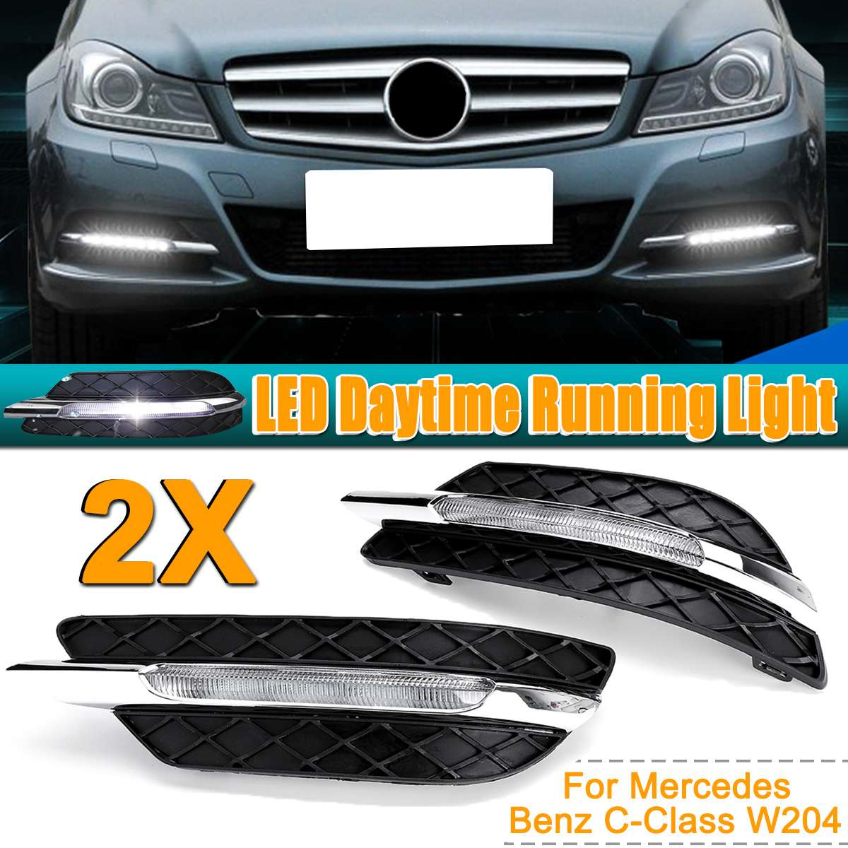Pour Mercedes-Benz C-Classe W204 2011 2012 2013 LED DRL Blanc Daytime Running Light Amber Clignotants lumière Brouillard Lampes