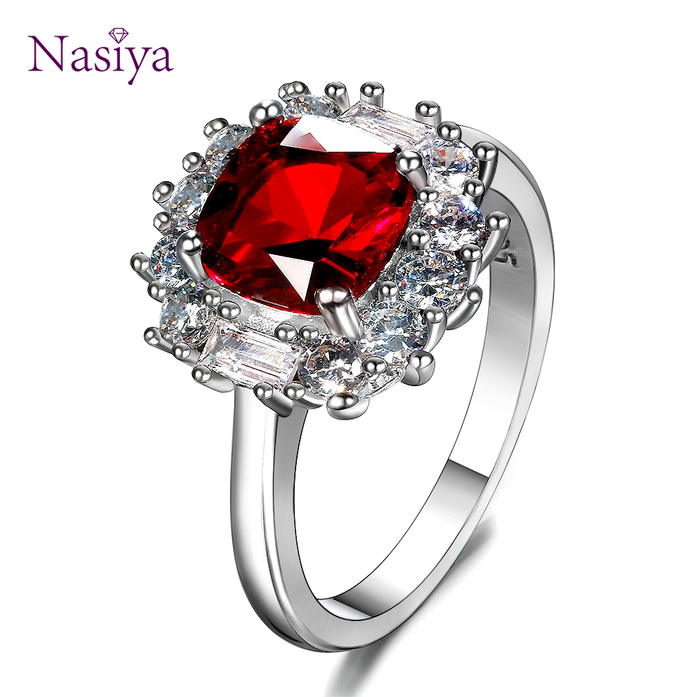 Luxury New Red Ruby Finger Rings 925 Sterling Silver Jewelry Ring For Women Fashion Wedding Anniversary Jewelry Gifts Wholesale in Rings from Jewelry Accessories