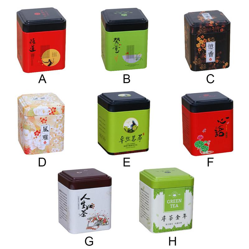 Mini Tin Storage Box Small Coffee Tea Caddy Square Sealed Tea Leaves Iron Packing Box Chinese Style Tinplate Container Case
