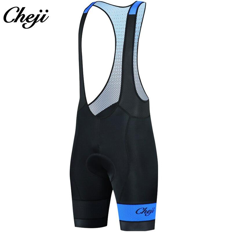 CHEJI 2018 Gel Padded Men Cycling BiB Shorts Lycra Tights Top Quality Mtb Road Bike Shorts Blue Bicycle Jersey Clothing