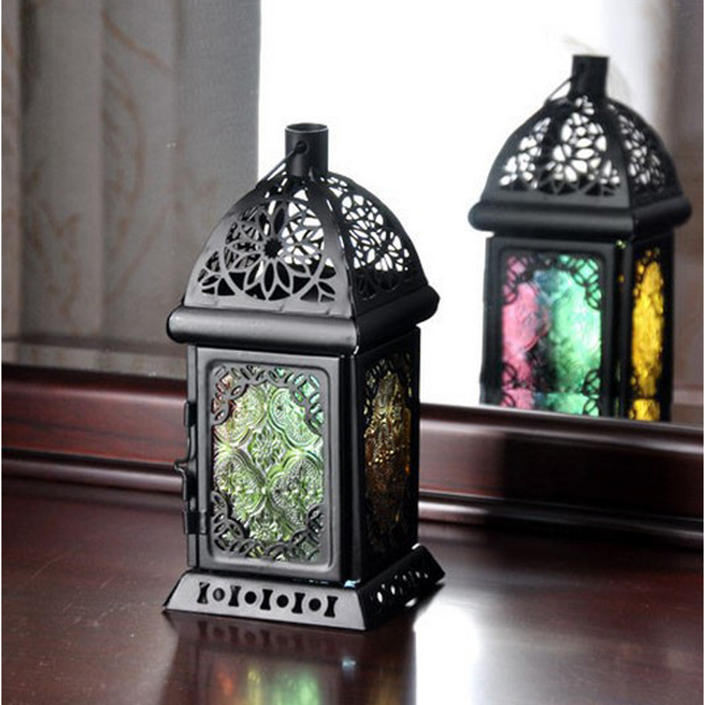 Moroccan Vintage Glass Metal Home Garden Candle Holder Table Hanging Lantern