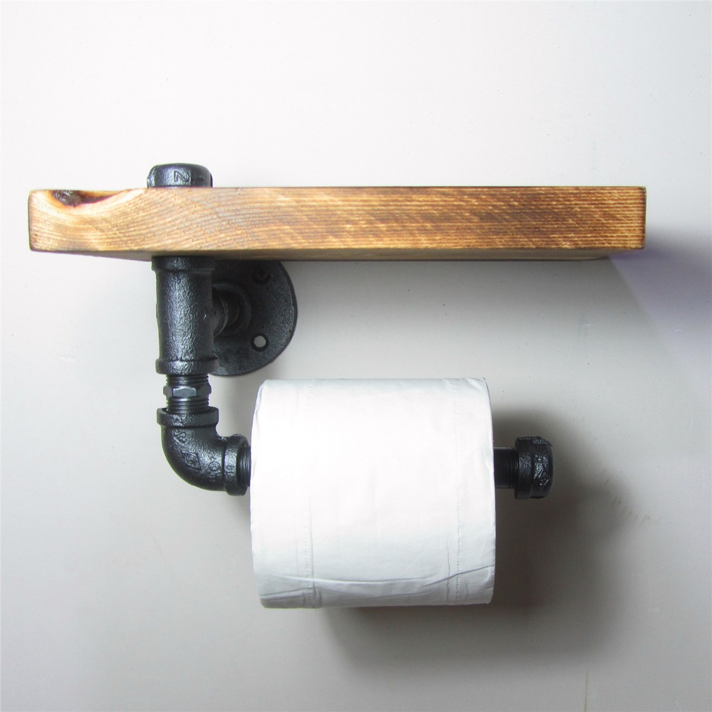 Hot Sale Urban Industrial Wall Mount Wood Storage Shelf Iron Pipe Double Toilet Paper Holder Roller Restroom Bathroom Decoration Bathroom Shelves