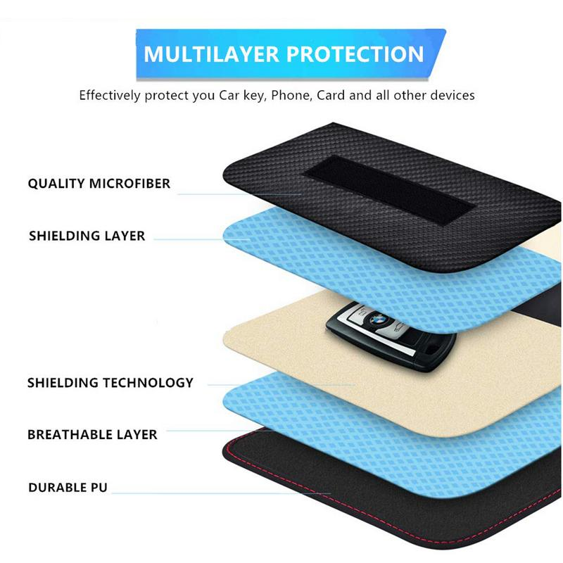 RF RFID Signal Blocking Bag Cover Signal Blocker Case For Keyless Car Keys Radiation Protection Cell Phone in Key Case for Car from Automobiles Motorcycles