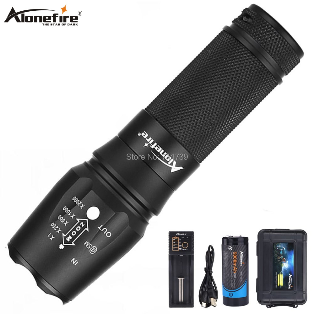 AloneFire X800 Tactical Flashlight <font><b>CREE</b></font> XML T6 <font><b>L2</b></font> <font><b>U3</b></font> <font><b>LED</b></font> Zoom flood light hike lantern Torch lamp AAA 26650 Rechargeable Battery image