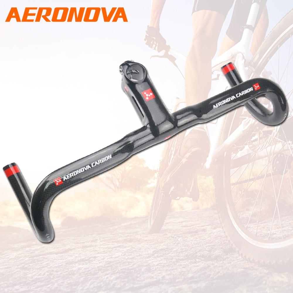 Spor ve Eğlence'ten Bisiklet Gidonu'de AERONOVA Karbon Yol Gidon Bisiklet Parçaları Karbon Gidon Kök Ile Entegre Damla Bar 3 K 2018 Gidon title=