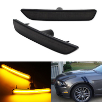 Front bumper Smoked Lens Side Marker Reflector Lamps White /Yellow /Red LED Lights For Mustang 2010 2014