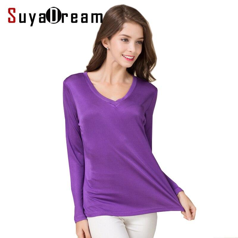 Suyadream camiseta feminina de seda natural mangas compridas com decote em v sólido camisa básica rosa azul roxo topo de fundo