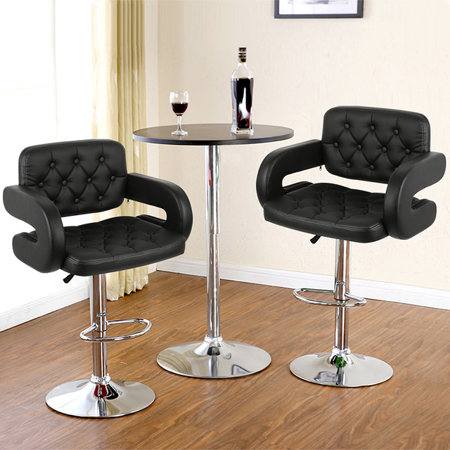 2pcs Adjustable Bar Chair With Backrest Stool Swivel Pneumatic Counter Pub With Handrails Shipping From France HWC 1