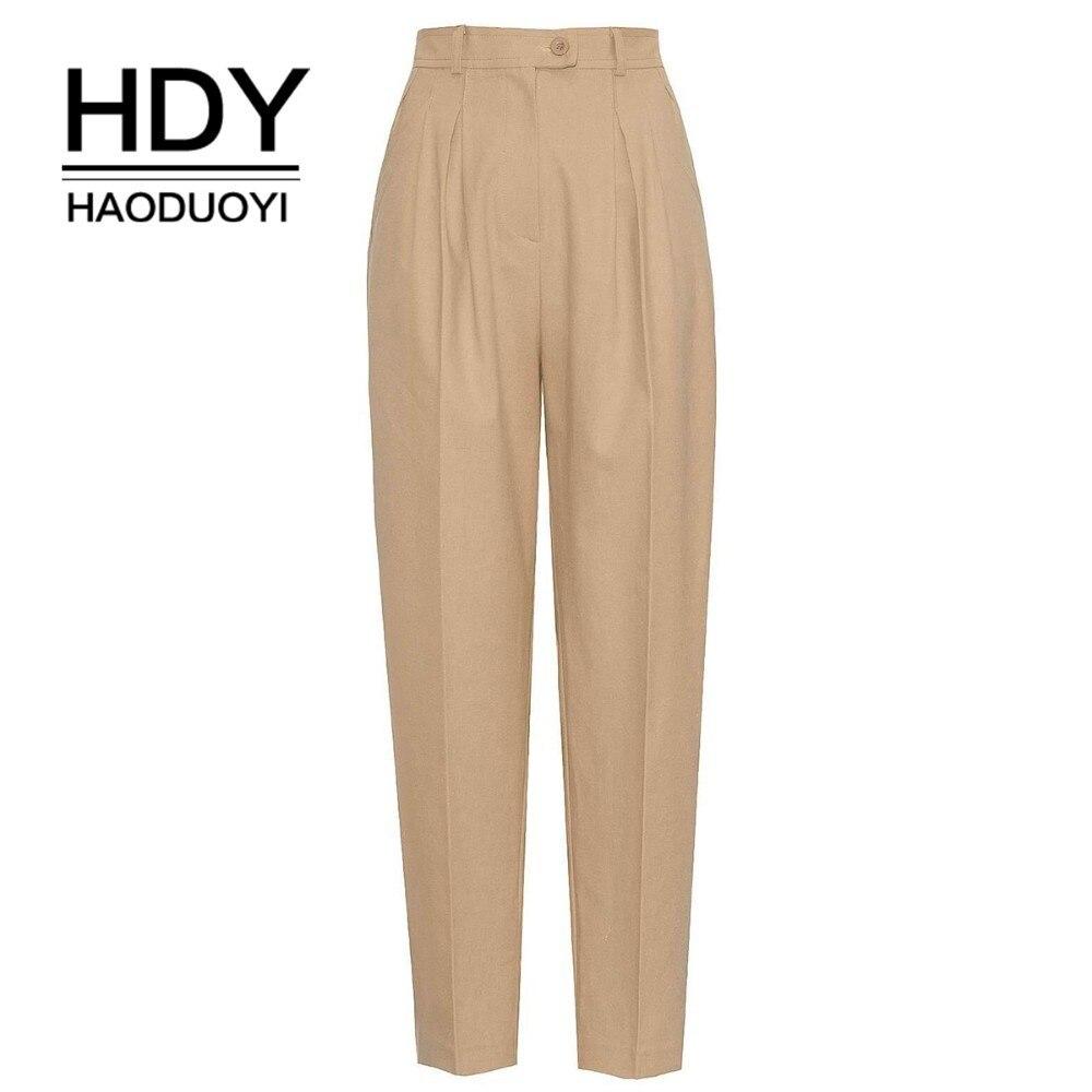 HDY HAODUOYI 2019 женские брюки с высокой талией    офисный стиль классические брюки офисная одежда бежевые  для женщин свободный крой широкие штаны с завышенной талией для офиса модная одежда для женщин-in Штаны и капри from Женская одежда on AliExpress