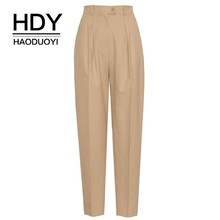 HDY HAODUOYI Neue Frauen Overalls Stil Hosen Gut Aussehend High Taille Klassische Weibliche Hosen Streetwear Büro Dame lose hosen