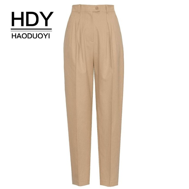 d10b300abe53a US $16.12 44% OFF|HDY HAODUOYI New Women Pure Color Safari Style Trousers  Smart Handsome Overalls High Waist Pants Fashion Bottoms Free Shipping-in  ...