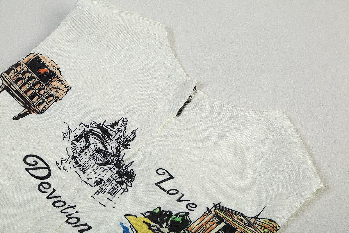 Maniche Per Dalla Maglia Bianco Della Donne Cotone waisted Lettera Stampato colletto Delle Senza Mini Loose Castello Di Nuovo Signora Vestito O Architettonico Vestiti awHqZ0