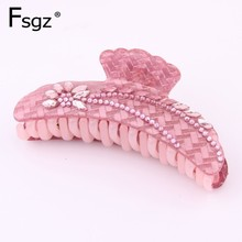 2019 Newest Korean Hair Clip For Women Luxury Solid Acrylic Cz Crystal Claw Horse Eye Rhinestone Paved Crab Tail