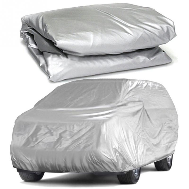 Universal Full Car Covers Snow Ice Dust Sun UV Shade Cover Light Silver Size S XXL Auto Car Outdoor Protector Cover Car Covers     - title=