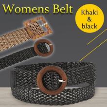 Women Vintage Hollow Woven Belt Decoration Ethnic Style Round Buckle Wild Dress Accessories Waistband