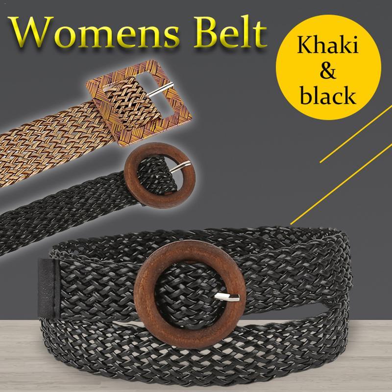 Women Vintage Hollow Woven Women   Belt   Decoration Ethnic Style Round Buckle Wild Dress Accessories Waistband