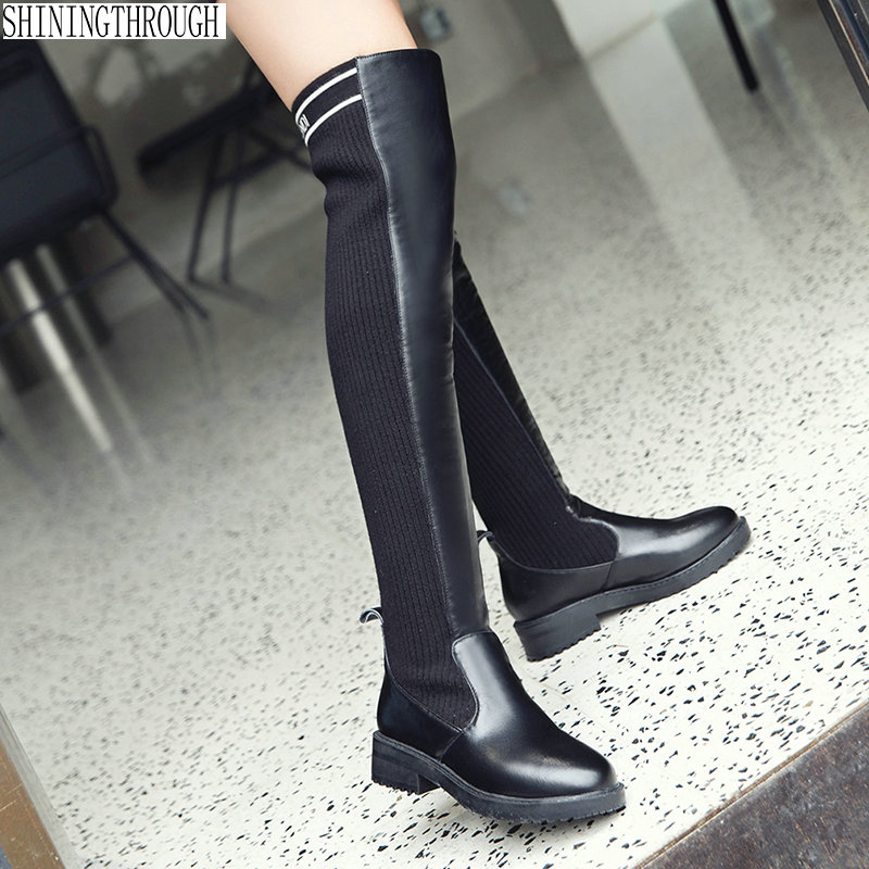 New 3cm low heels over the knee high western boots woman ladies wedding party dress shoes casual women boots large size 43 купить недорого в Москве