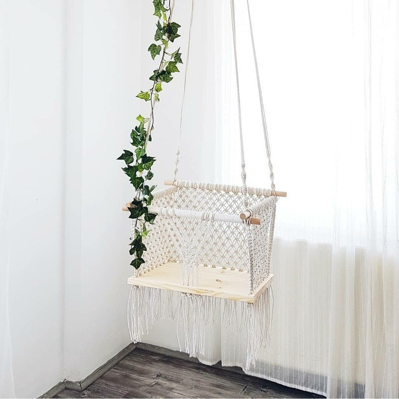 Us 116 32 34 Off Nordic Style Hand Woven Lace Swing Suit Outdoor Hammock Children S Room Toys Comfort Security Hanging Chair New Arrivals In Patio