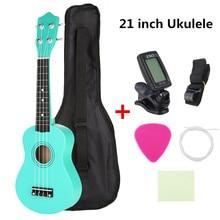 21 дюймов сопрано Гавайские гитары укулеле для начинающих Уке Гавайи бас гитара старт пакет с Gig bag+ тюнер+ палочки+ ремень+ чистящая ткань набор