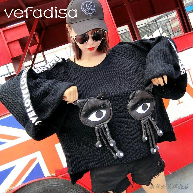 Vefadisa Women Big Eye Decorate Tassel Sweater 2018 Autumn Women Flare Sleeve Pullover Loose Sweater Letter Ribbon Sleeve DQ366
