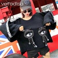 Vefadisa Women Big Eye Decorate Tassel Sweater 2018 Autumn Women Flare Sleeve Pullover Loose Sweater Letter Ribbon Sleeve DQ366