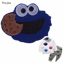 Prajna cartoon sesame street patch sewing iron on embroidered patches for clothing cookie blue sesame cute applique high quality
