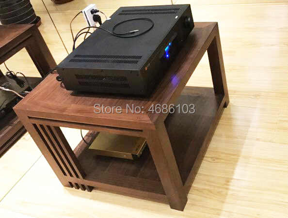 High End Double Layer Audio Cabinet White Wax Wood Hifi Stand