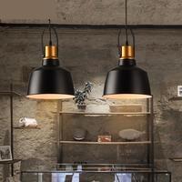 warehouse 1 pcs Black iron pendant lights for Cafe Pizza shop Bar E27 metal hanging Lamp Balcony Restaurant indoor hang lighting