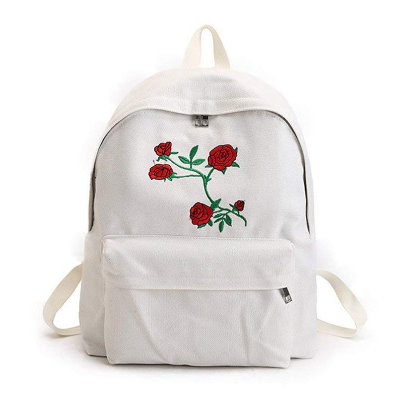 New Fashion Lady's Canvas Backpack Girl's Satchel School Bags Rose Embroidery Design On Women's Travel Bag A Classical Pure Co