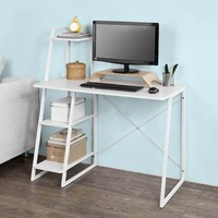 SoBuy FWT29 W, Home Office Table Desk Computer Desk Workstation with 3 Tiers Side Storage Shelves