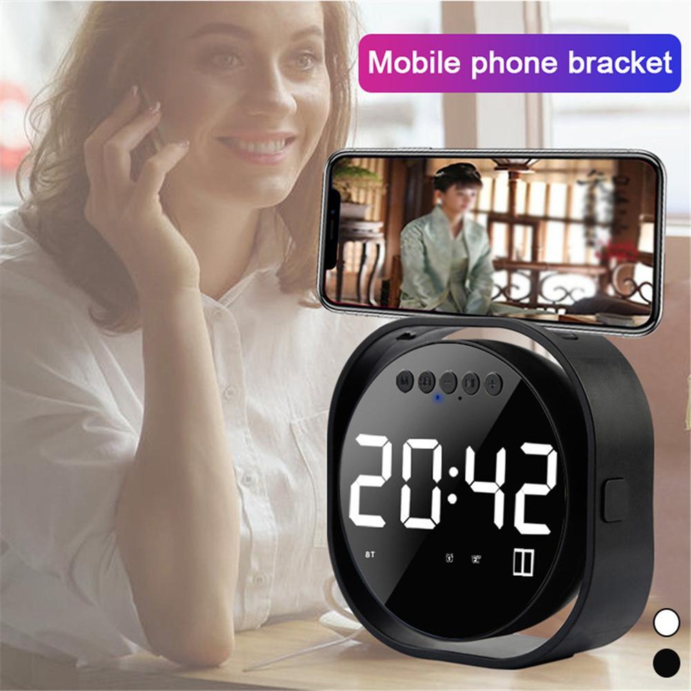 Wireless Subwoofer Clock-Speaker Mirror Alarm-Clock Portable FM Bluetooth LED TF USB