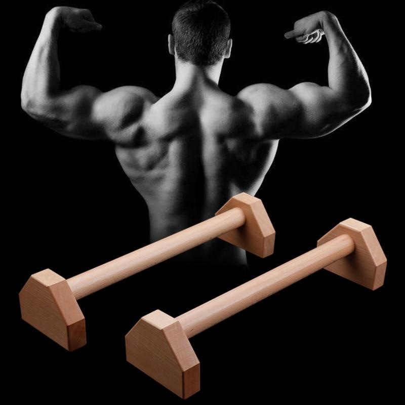 Fitness 50 cm bois push-up Stands Sport Gym exercice entraînement poitrine H en forme de barres en bois Calisthenics Handstand Double tige FT01