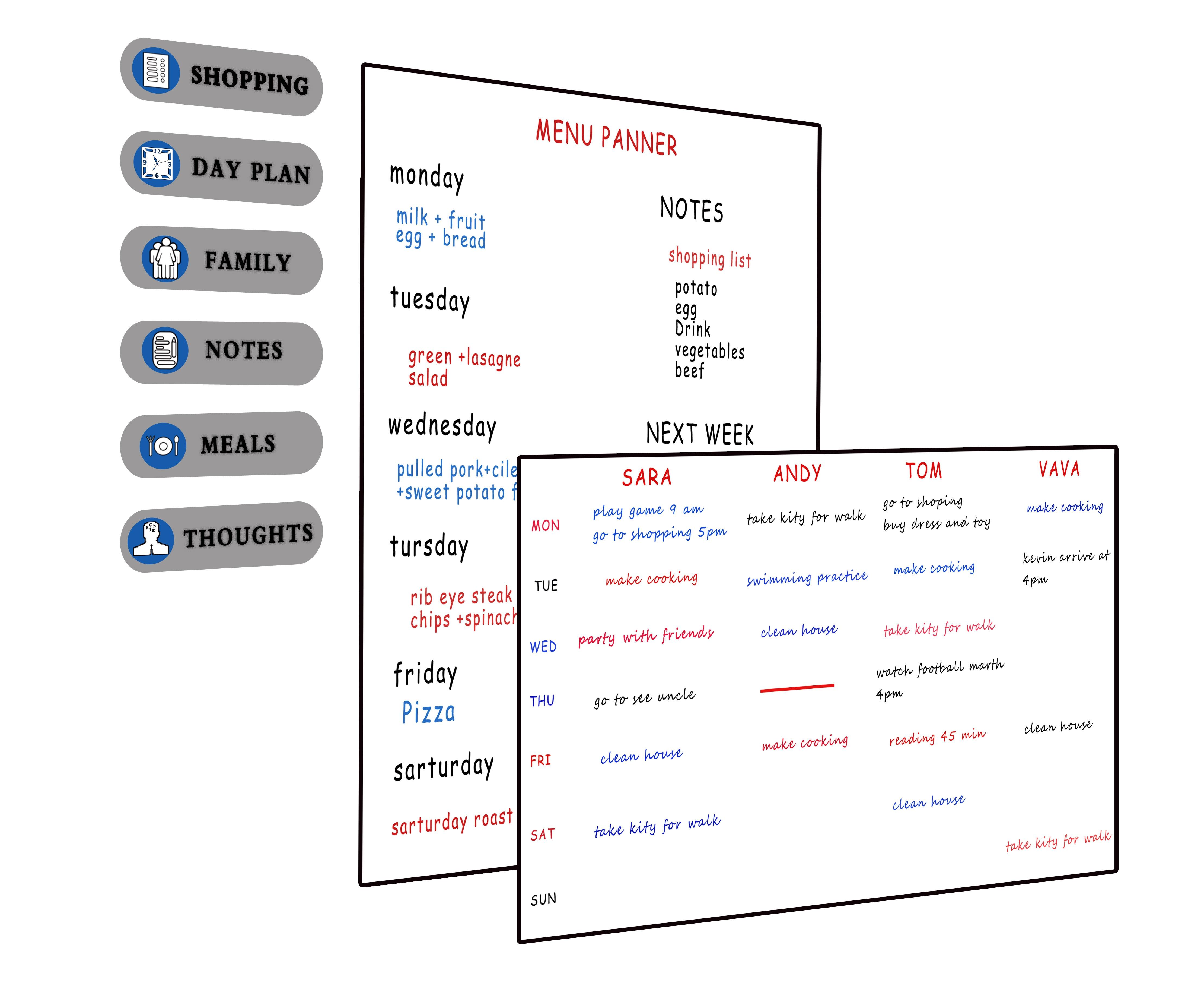 MAGNETIC FRIDGE BOARD /& NOTEPAD SHOPPING LIST KITCHEN home planner FLOWERS