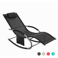 SoBuy OGS28 Outdoor Garden Rocking Relaxing Chair Sun Lounger Side Bag