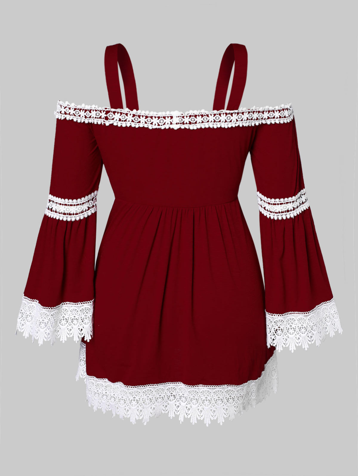 Manga Tamaño Blusa Top Del Correa Patchwork Hem Primavera Plus Camisetas Casuales Red Verano Bowknot Wipalo Wine Blusas Mujer Espaguetis AwER88