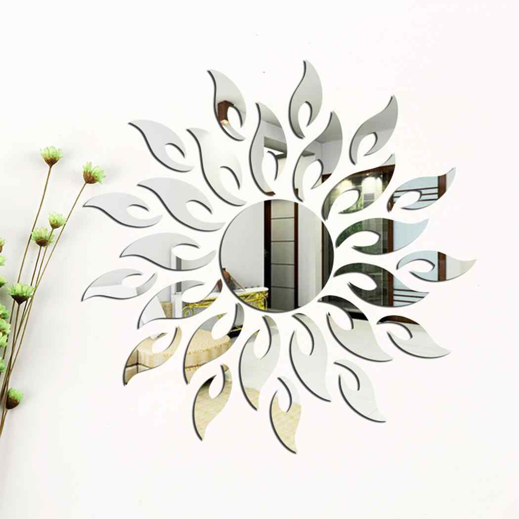 27pcs Silver Wall Sticker Room DIY Sticker For Home Room Wall TV Cabinet Ceiling Art Decor Removable Mirror Shape Modern Sun