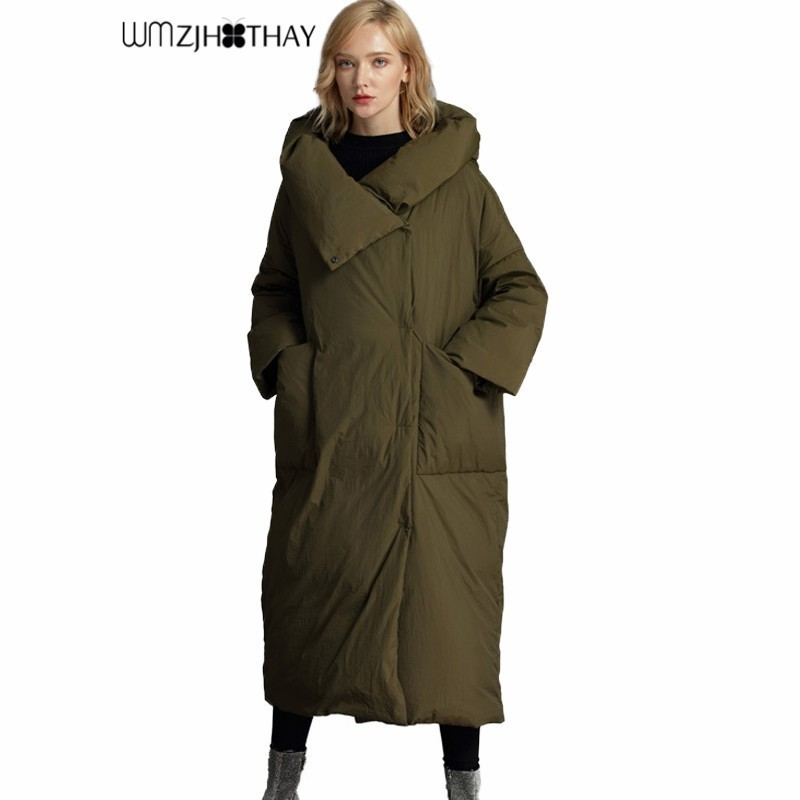 90% White Duck   Down   New Warm Quilt Section Simple Loose Women Jacket Fashion Casual Hooded Parker High Quality Thick Winter   Coat